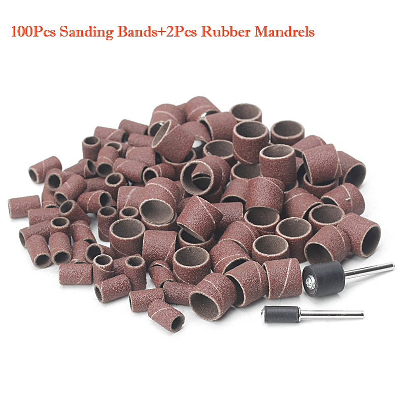 100Pcs 1/2 and 1/4 Sanding Band Sleeves Drum Kit Sandpaper Rubber 2 Mandrels -W310 6pcs set 39x 27 5x2 5cm silica gel foldable portable roller up usb electronic drum kit 2 drum sticks 2 foot pedals