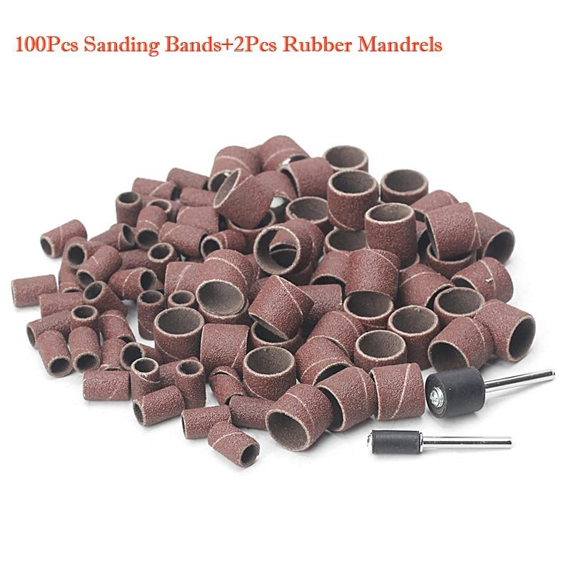 100Pcs 1/2 and 1/4 Sanding Band Sleeves Drum Kit Sandpaper Rubber 2 Mandrels -W310