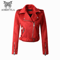 AORRYVLA Fashion Suede Faux Leather Jacket For Women Autumn 2017 Turn Down Colors Zippers Motorcycle Lady