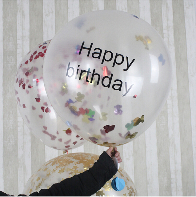 Happy Birthday Stickers With 36inch Clear Latex Balloon Party Ideas