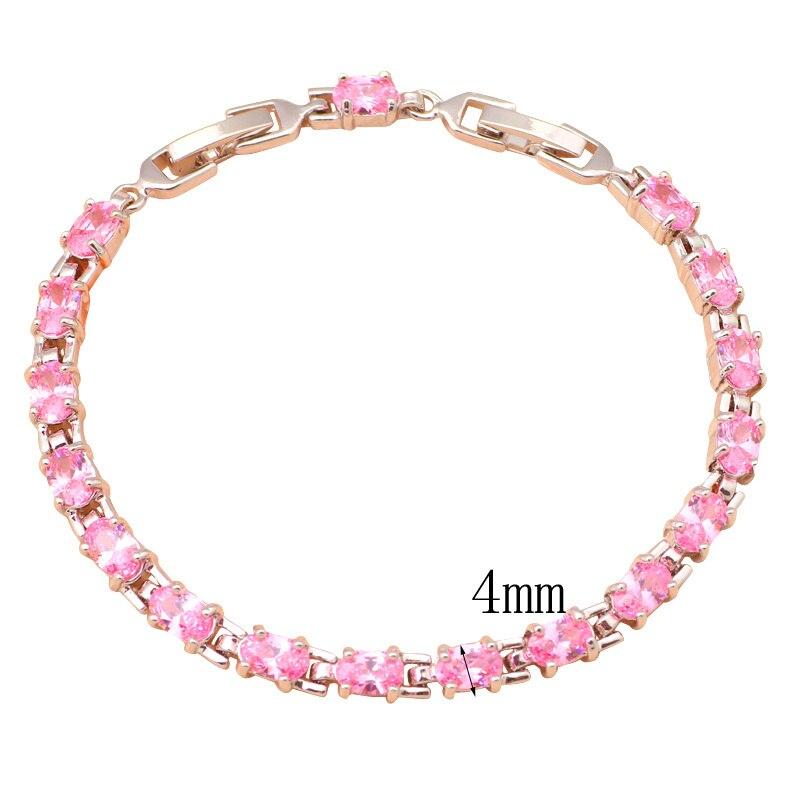 Beautiful Pink Crystal & AAA Zirconia Silver Bracelets Health Nickel & Lead free Fashion jewelry TBS726A