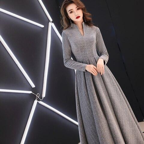 weiyin 2019 Women Long Sleeve Evening Gowns Celebrity Dress Elegant Formal Long Dresses Satin A line Evening Dresses WY1509 Karachi