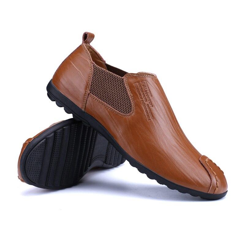 Cuir En red Respirant Mode De Fait Main Vkergb Qualité Haute Casual Véritable Brown Appartements Vintage Black Hommes brown Chaussures t1WqBFw