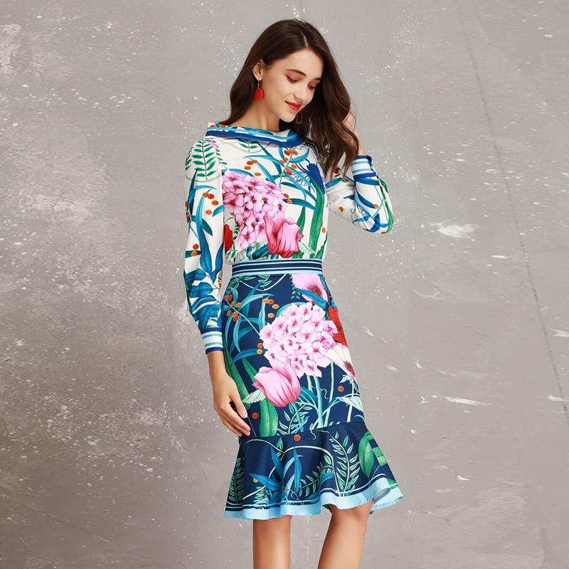 ee0e37296 Nueva blusa de cuello grande de manga larga con diseño de pasarela de  Primavera Verano 2019 de gama alta + trajes de falda de sirena para mujer  ...
