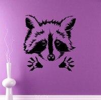 Sevimli Rakun Duvar Vinil Çıkartması Hayvanlar Paws Çıkarılabilir Sticker Duvar Ev Iç Çocuklar Çocuk Odası Dekor Kreş Mural