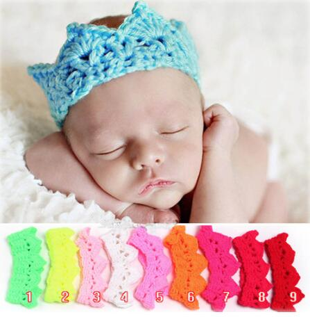 ON SALE 1PC Baby Infant Headband Crown Knitting Crochet Costume Soft Tiara Headband Newborn Photography Props Baby Photo Hat Cap