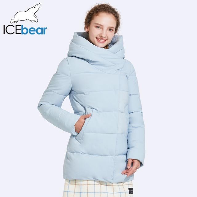 ICEbear 2017 высокое качество ветрозащитный Ткань осенняя и зимняя куртка Для женщин косой молнией карман в юбке Дизайн толстый слой 17G6508D