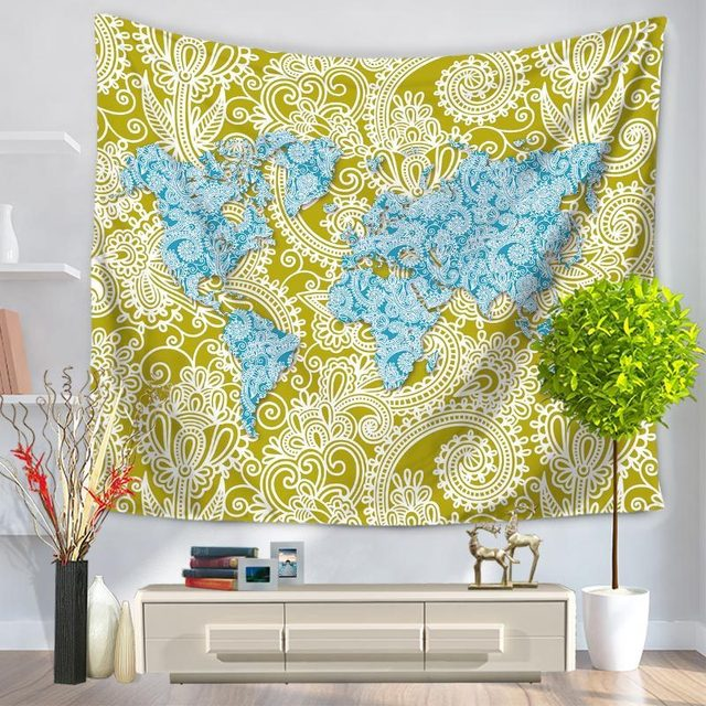 Modern Colorful Printed World Map Tapestry Wall Hanging Rectangle - Cloth world map wall hanging