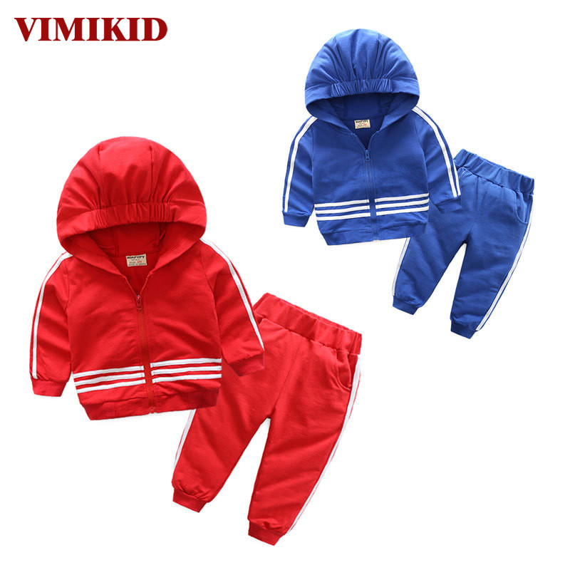 VIMIKID Boys Clothing Sets 2017 Autumn New Movement Long-sleeved Solid Color Cap Jacket + Striped Casual Pants Kids Clothes Suit
