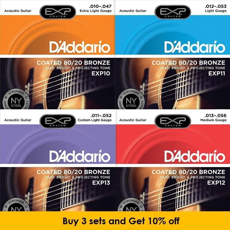 D'Addario EXP gecoate 80/20 Bronze akoestische gitaarsnaren, EXP10 EXP11, EXP12, EXP13, EXP14, EXP36 (12-snarig)