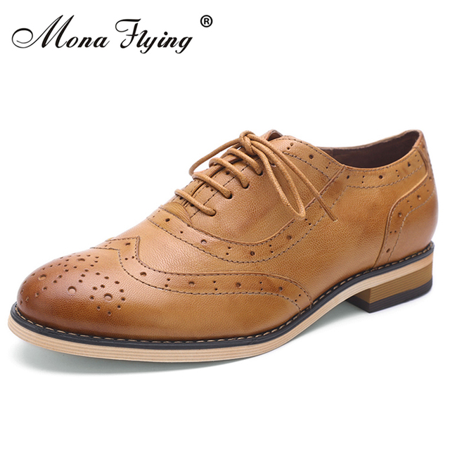 Women Flats Oxfords Shoes 2017 Vintage Brand Genuine Leather Women Lace-up Casual Brogue Shoes for Women Handmade Shoes A068-1