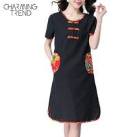 Charmingtrend Women Dress China Design 2017 Summer New Arrival Casual Dress Contrast Printed Trim Pocket Round Neck Shift Dress