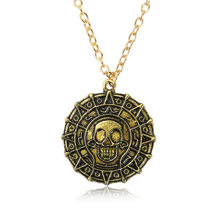 Pirates Of The Caribbean Necklace Jack Sparrow Aztec Coin Medallion Pendant Johnny Depp Movie Jewelry Men Women Gifts 3 Colors(China)