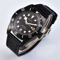 Corgeut 41mm Black PVD Coated Case Clock Sapphire Black Bezel Rose Gold Mark Watch Luminous Hands