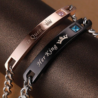 Drop Shipping Unique Gift For Lover Couple Bracelets Stainless Steel Bracelets With Zircon Women Men Jewelry