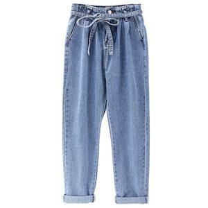 Image 3 - Summer Jeans Woman Vintage Plus Size High Waist Jeans Lace Up Boyfriend Jeans For Women Casual Denim Harem Pants Trousers C4238