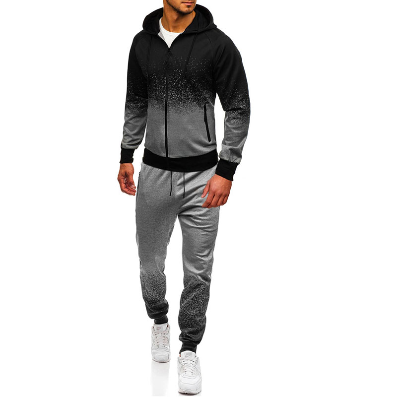 2019 Men Fashion Long Sleeve Hoodies Pants Set Male Tracksuit Sport Suit Gradient Black Men's Gyms Set Fitness Sportswear Jogger