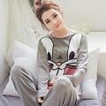 2016 Mujeres del Resorte Pijama de Otoño ropa de Dormir Pijamas niñas Homewear ropa de noche De Las Mujeres Más Tamaño Camisón