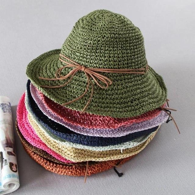 De las mujeres del color del caramelo del verano sombreros para el sol sombreros de playa para las mujeres plegable de sun marca sombrero arco de ala ancha sombreros para el sol para las mujeres con grandes cabezas