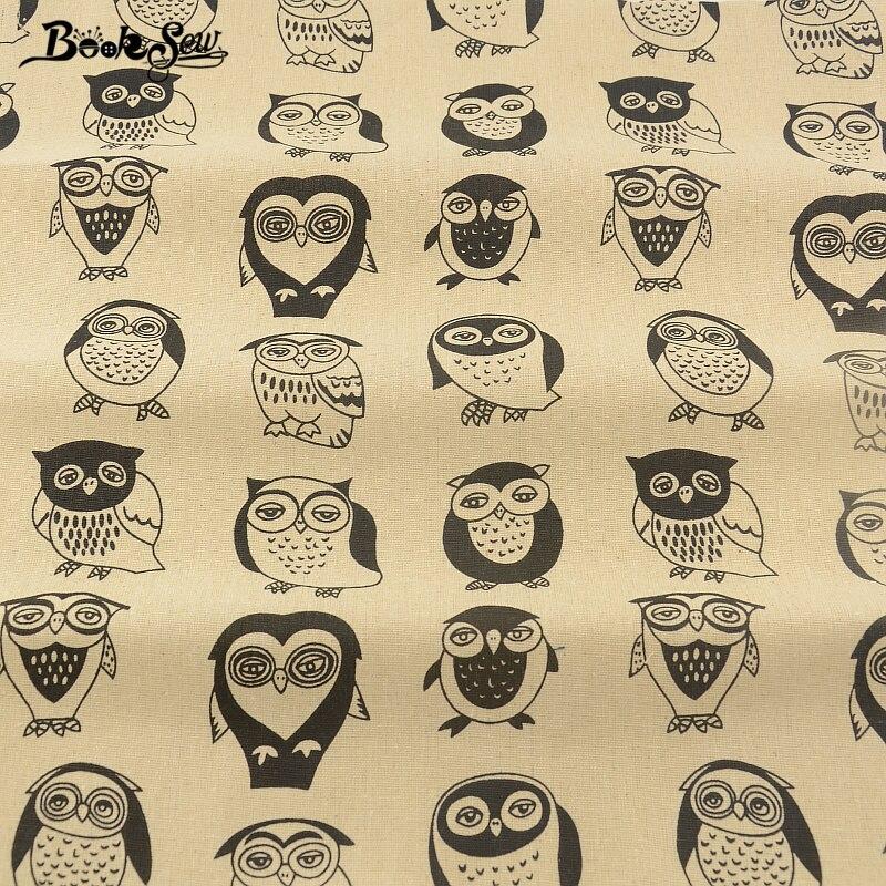 Tejido de lino de algodón búho estilo de dibujos animados textiles para el hogar