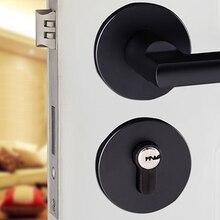 Простая полированная черная алюминиевая дверная ручка и замок Передний Задний рычаг шкафчик цилиндр Двойная защелка с ключом аксессуары для рук
