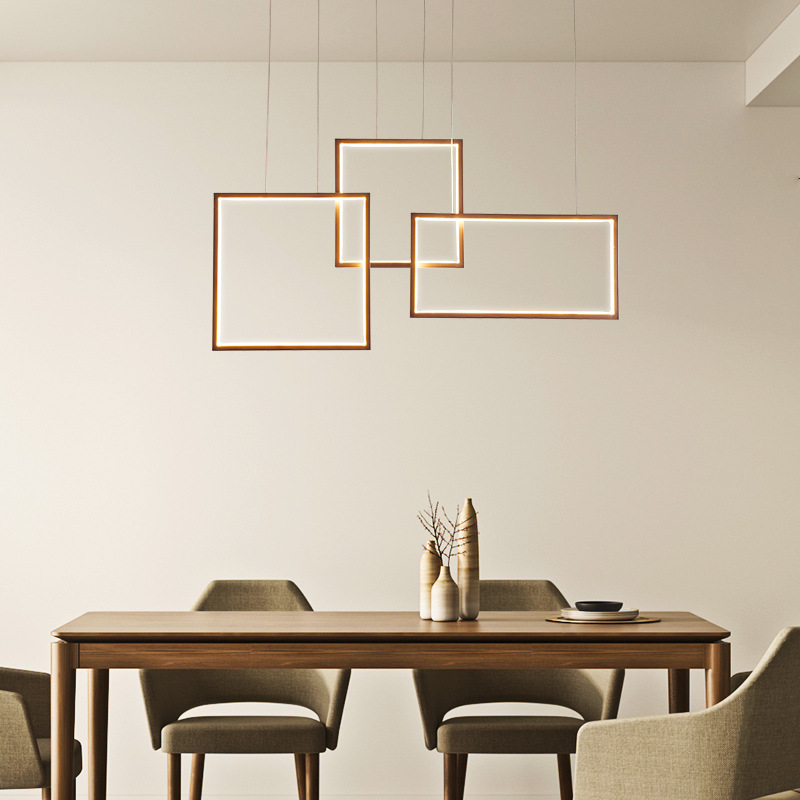 modern square dining room led pendant light suspension