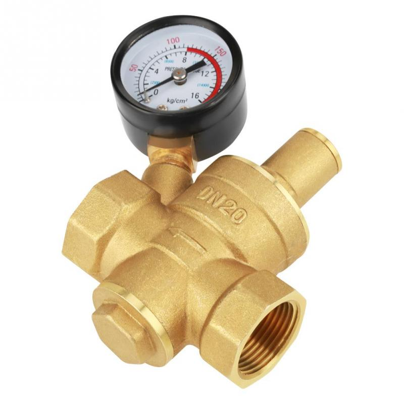 Brass DN20 Adjustable Water Pressure Gauge Regulator Reducer Valve With Meter 0.05-0.8Mpa Tools Accessory