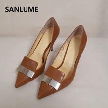 SANLUME Top Quality Women 100% Genuine leather High heels Brown Metal Decoration thin Sexy shoes inside sheepskin