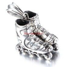 Nueva Joyería de La Manera Mini Patines Patinaje Zapatos Rueda de Plata Collar Colgante de Acero Inoxidable Hombres mujeres Unisex Mejor Regalo