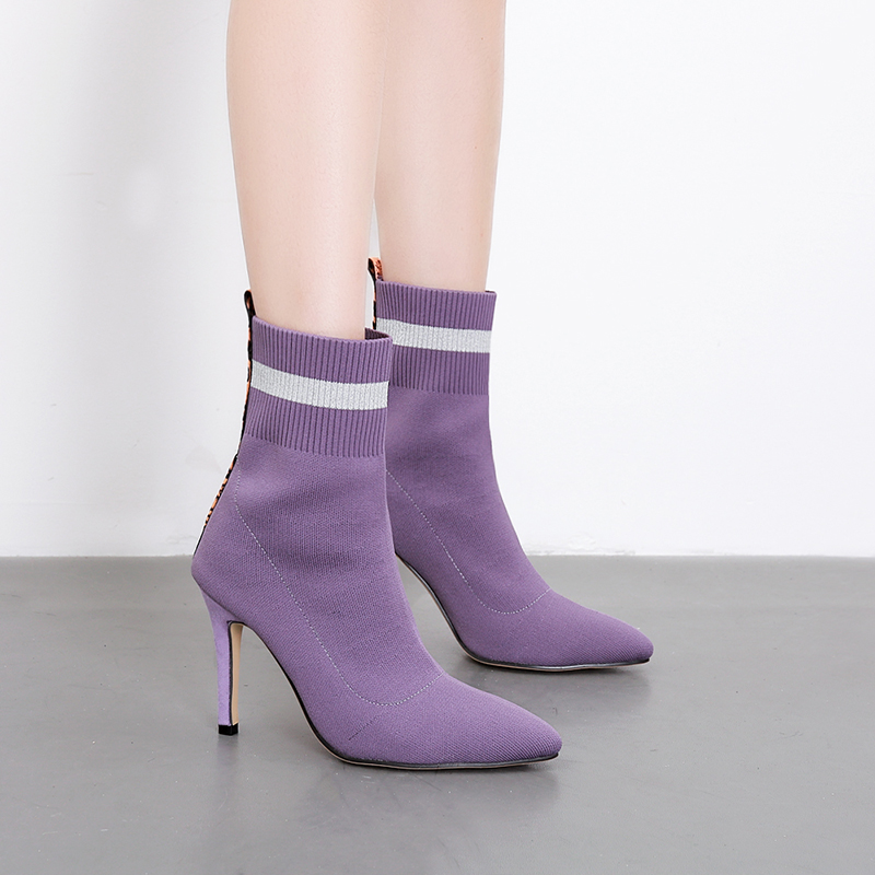 Knitting Sock Boots Ladies Winter booties Pointed Toe Slip on Sexy high Heels Ankle boots for Women Purple blue Zapatos de mujer free shipping zapatos de mujer 2017 casual chunky high heels round toe women woolen shoes luxury slip on sock chelsea boots