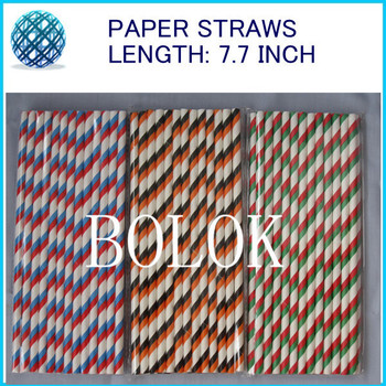 Free Shipping 800pcs/Lot Wedding Favors Drinking Paper Straw Colorful Drink Strip Paper Straws