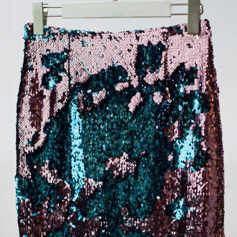2019 nouveau genou longues jupes femmes mode Bling paillettes jupe portefeuille élégant parti Slim Fit Match couleur femme paillettes crayon jupes