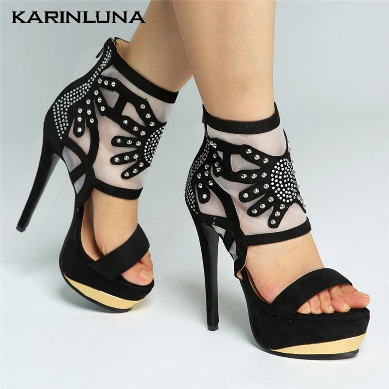 Delgada De Sandalias Moda Mujer 34 Zapatos Cremallera Xewcnx Tacones f6gyb7