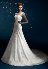 free shipping handmade flower Quality one shoulder lace up 2014 fashion princess ivory dress white wedding with long train