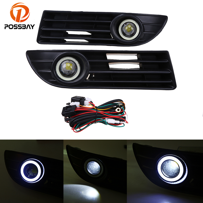 POSSBAY Front Bumper Grille LED Angel Eye Fog Lights for VW Polo MK4 9N3 2005-2009 Facelift LED Front Foglamps for opel astra h gtc 2005 15 h11 wiring harness sockets wire connector switch 2 fog lights drl front bumper 5d lens led lamp
