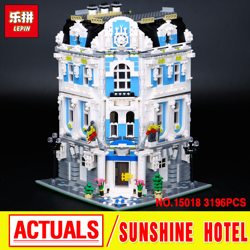 New 3196pcs Lepin 15018  MOC  City  The Sunshine Hotel Set Building Blocks Bricks  Toys gift for boys girls laete 15018