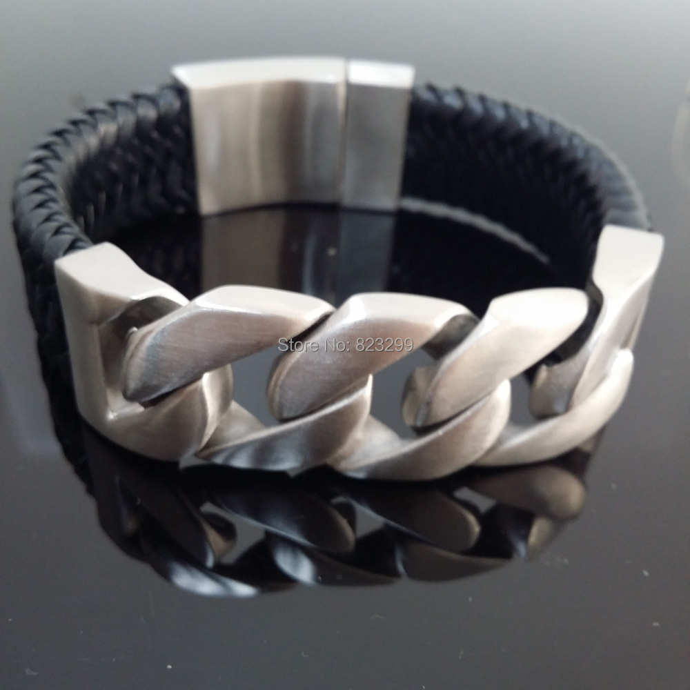 Fashion silver stainless steel (316) cool male leather woven Bracelet (length: 23cm, width: 24mm weight: 188g) ppss-052 good shop 188g