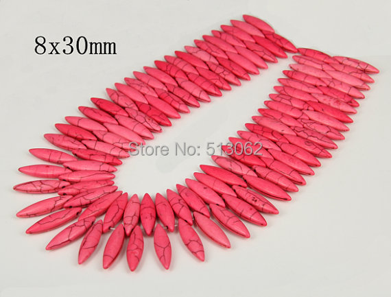 15.5 inches strand of Smooth Horse Eye Pink Howlite Beads, Loose Tur quoise Pendant Beads Jewelry, Craft Supplies