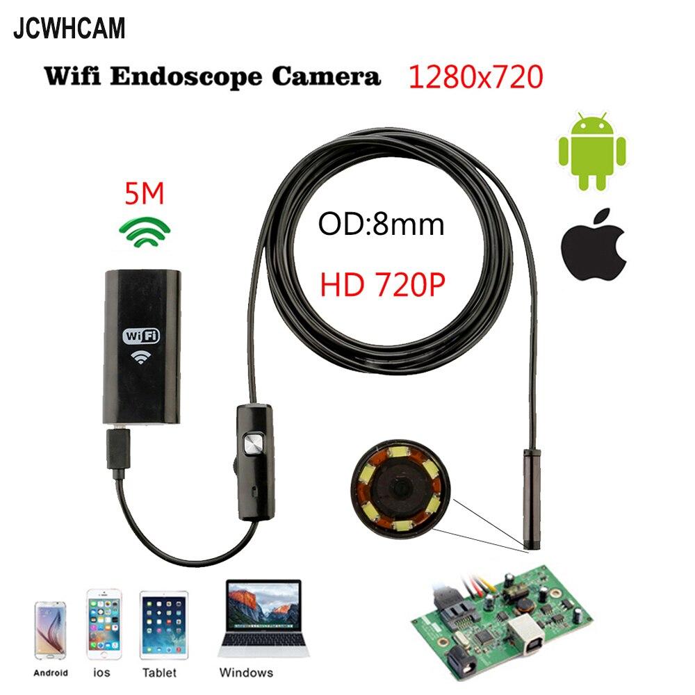 8mm 5 M Borescope Câmera Endoscópio Sem Fio Wi-fi Android HD 1280*720 IP67 À Prova D' Água Câmera de Inspeção Endoscópio IOS