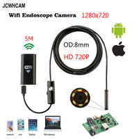 8mm 5M Wireless Wifi Endoscope Android Camera Borescope HD 1280 720 IP67 Waterproof Inspection IOS Iphone