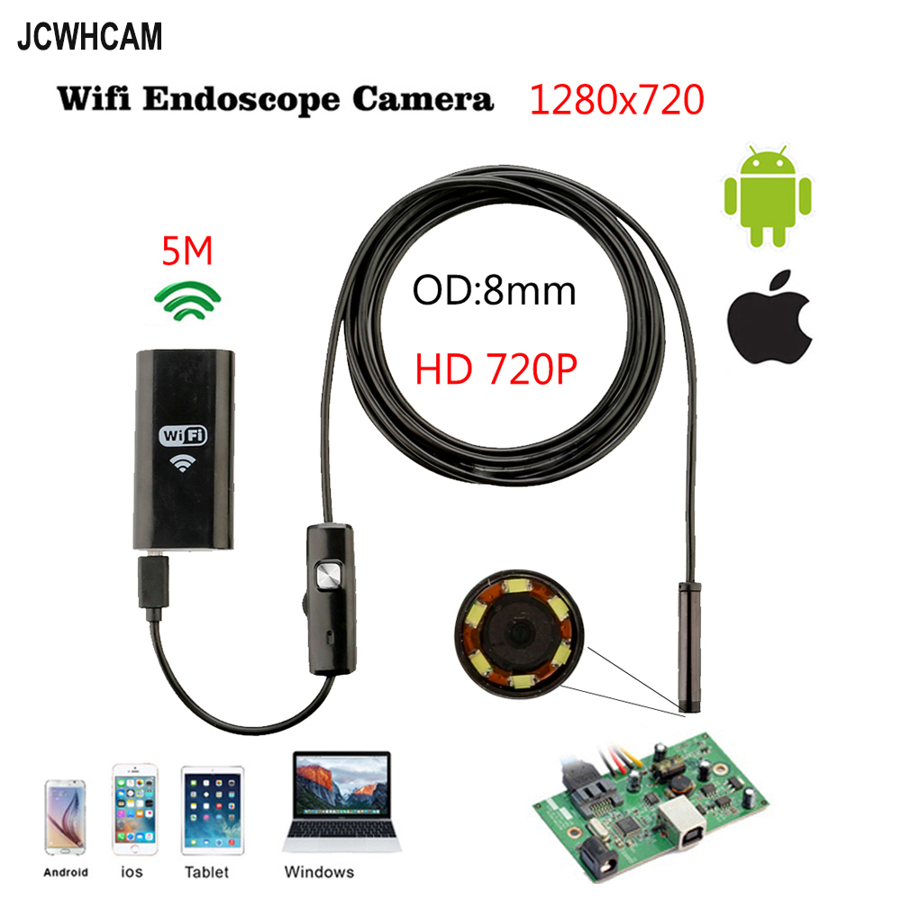 8mm 5M Wireless Wifi Endoscope Android Camera Borescope HD 1280*720 IP67 Waterproof Inspection IOS Endoscope Camera gl9008 8mm endoscope ip67 waterproof with colorful lcd monitor camera head inspection av handheld cmos
