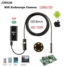 8mm 5M Wireless Wifi Endoscope Android Camera Borescope HD 1280 * 720 IP67 Waterproof Inspection IOS Iphone Endoscope Camera цены