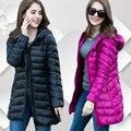 Nova jaqueta de Inverno da Mulher Casacos Slim Com Capuz Down Jacket da Mulher quente Para Baixo Mulheres Casaco de Ultra Luz Branca Duck Down Parkas W00785