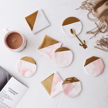 Pink Gold Marble Ceramic Coaster Porcelain Round Table Mat Coaster Mug Cup Place Mats Pads Decor Table Decoration Accessories nordic style lovely pink gold marble pattern coaster ceramic drink coasters cup mat marble decor