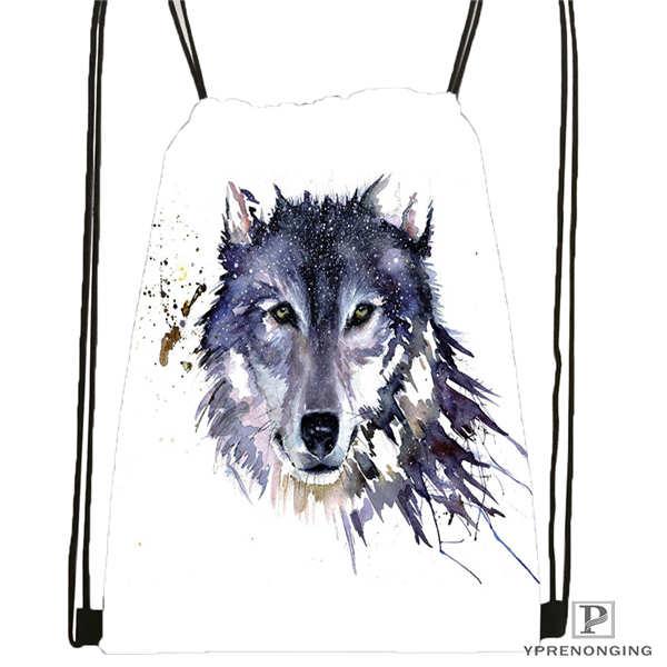 Custom Wolf_moon_by_kyghost@01- Drawstring Backpack Bag Cute Daypack Kids Satchel (Black Back) 31x40cm#180611-03-107