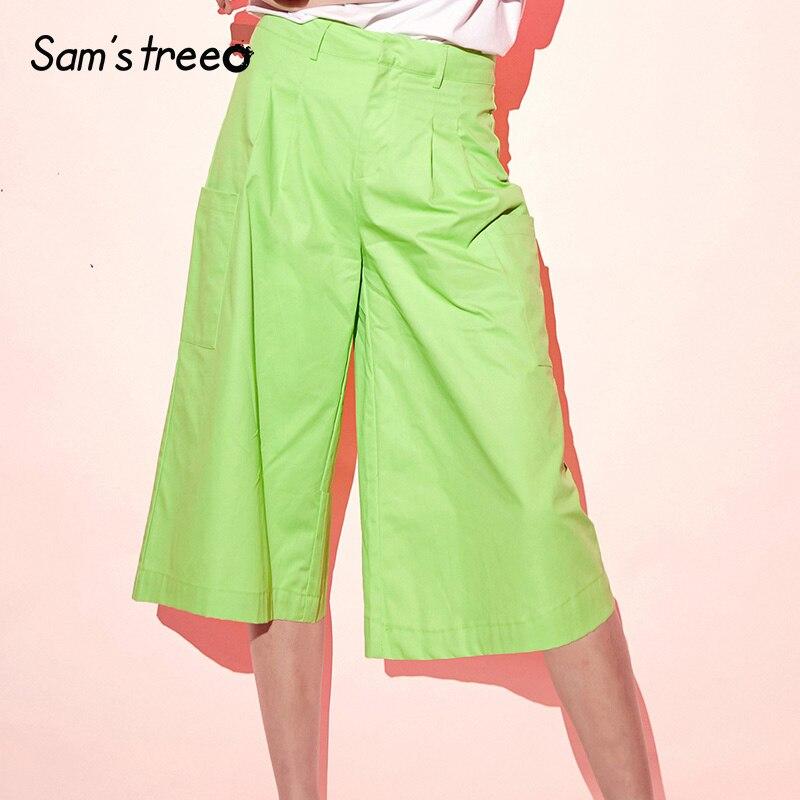 Samstree Cotton Neon Green Casual   Wide     Leg     Pants   Women Fashion 2019 Summer Cargo   Pants   Female Mid Waist Calf-Length   Pants