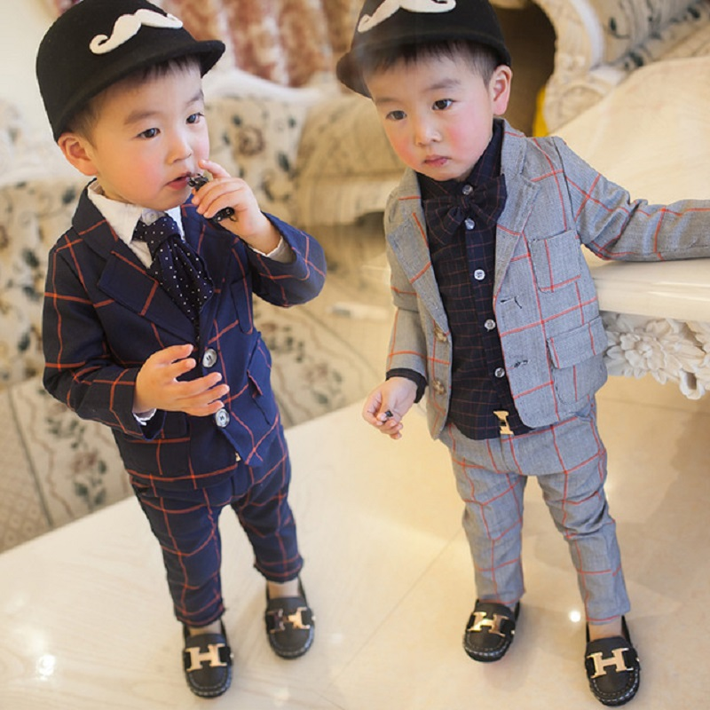 Hot 2018 Spring Fall 2-5Yrs Baby Infant Plaid Blazer Suit 2 Pcs Little Kids Casual Clothing Sets Childrens Leisure Twinset