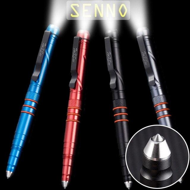 LED Flashlight Self Defense Pen Security Protection Defense Personal Tactical Pen Aluminum Alloy Illumination Pen With Gift Box