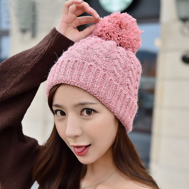 Women Thick Warm Autumn Winter Braided Knitted Jacquard Weave Wool Hat Skullies Beanies Toboggans Pom Ear Protect Yarn Gorros