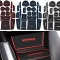 17 Pcs Anti Antiderrapante Para Suzuki VITARA 2016 Acessórios Com Palavras em Adesivos de Carro Carro Almofada da Esteira do Copo Ranhura Portão Sulco Porta-Styling